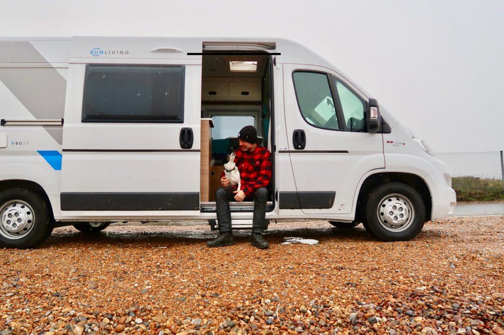 Camper van on the beach in winter